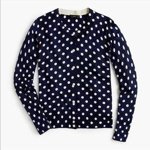 J. Crew Polka Dot Merino Wool Sweater Cardigan